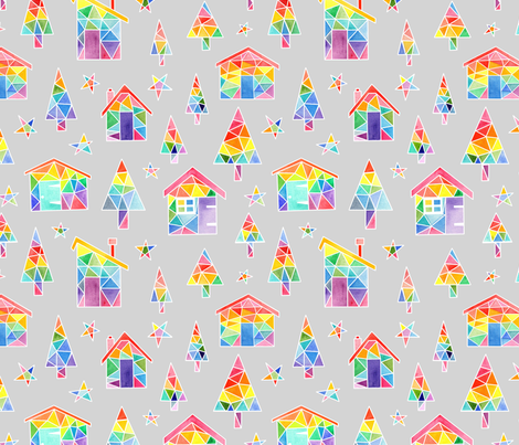 Rainbow Winter Huts - pale grey fabric by emeryallardsmith on Spoonflower - custom fabric