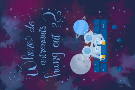 Where do astronauts hang out? fabric by the_happy_alpaca on Spoonflower - custom fabric