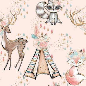 Light Blush forest friends deer racoon fox tent golden glitter