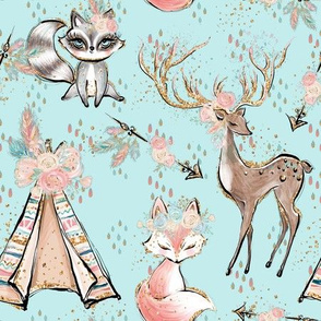 Azure forest friends Fox deer racoon tent