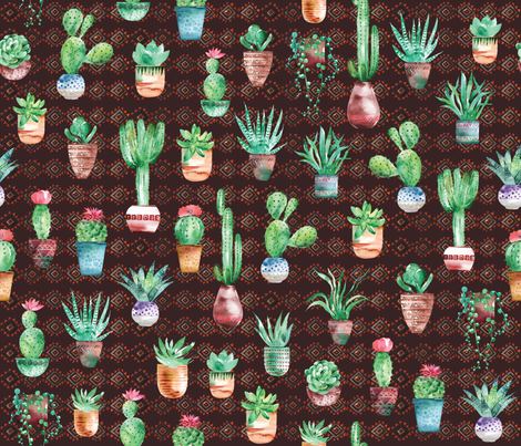 Watercolor cactus and succulent  in the pot fabric by ringele on Spoonflower - custom fabric