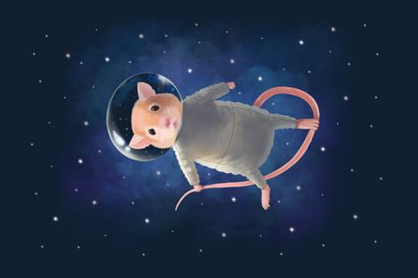 Mouse astronaut tea towel fabric by elena_naylor on Spoonflower - custom fabric