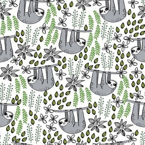 sloth fabric // sloth fabric by the yard, sloth fabric material, sloth fabric uk - cute sloth, sloths, jungle safari, kids nursery fabric - white
