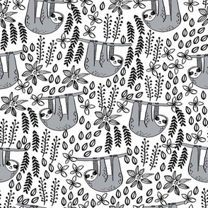 sloth fabric // sloth fabric by the yard, sloth fabric material, sloth fabric uk - cute sloth, sloths, jungle safari, kids nursery fabric - white and black