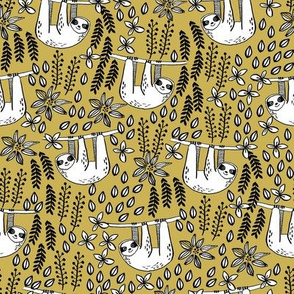 sloth fabric // sloth fabric by the yard, sloth fabric material, sloth fabric uk - cute sloth, sloths, jungle safari, kids nursery fabric - mustard