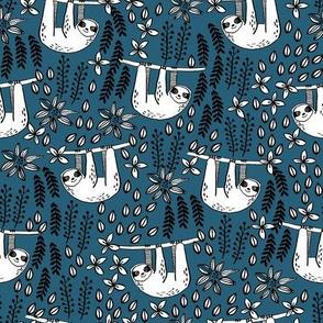 sloth fabric // sloth fabric by the yard, sloth fabric material, sloth fabric uk - cute sloth, sloths, jungle safari, kids nursery fabric - dark blue