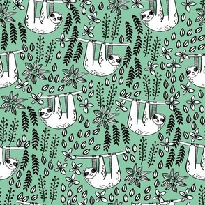 sloth fabric // sloth fabric by the yard, sloth fabric material, sloth fabric uk - cute sloth, sloths, jungle safari, kids nursery fabric - green