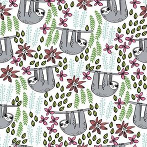 sloth fabric // sloth fabric by the yard, sloth fabric material, sloth fabric uk - cute sloth, sloths, jungle safari, kids nursery fabric - brights