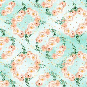 Watercolor peach roses pattern