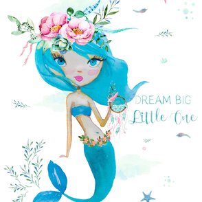 "56""x72"" Dream Big Little One Blue Mermaid"