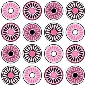 Mid Century Modern Circle Flowers - Pink and Black