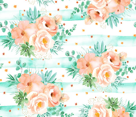 Watercolor mint succulents and peach roses fabric by ringele on Spoonflower - custom fabric