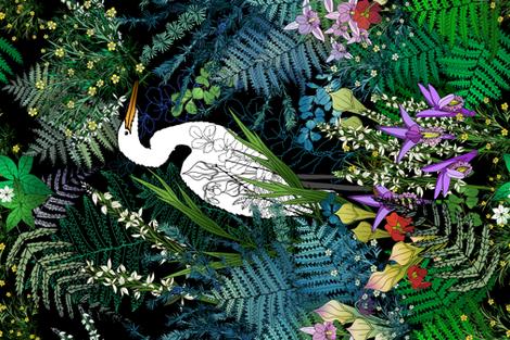 Egret in an Evening Water Garden  fabric by irishvikingdesigns on Spoonflower - custom fabric