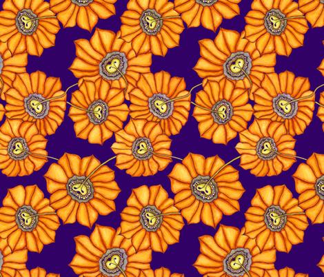 Sunflower on purple fabric by jennablackzen on Spoonflower - custom fabric