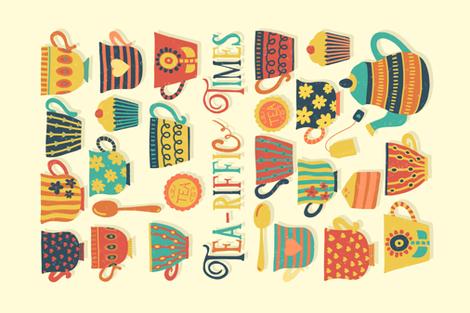 Tea-riffic Times - It's a punderful life Tea Towel Challenge fabric by sandra_hutter_designs on Spoonflower - custom fabric