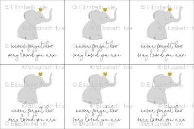 6 loveys: never forget how very loved you are elephant with crown