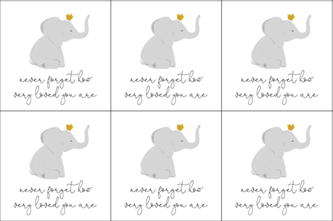 6 loveys: never forget how very loved you are elephant with crown fabric by ivieclothco on Spoonflower - custom fabric