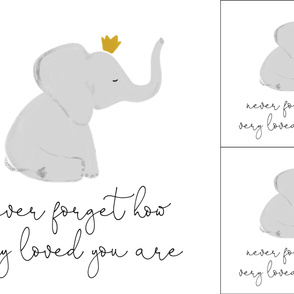 1 blanket + 2 loveys: never forget how very loved you are elephant with crown