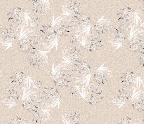 Cream On Cream Indica Leaves fabric by camomoto on Spoonflower - custom fabric