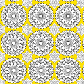 Mandalaflower on yellow