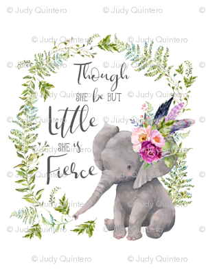 """27""""x36"""" / 2 to 1 Yard Minky / Though She Be But Little Elephant"""
