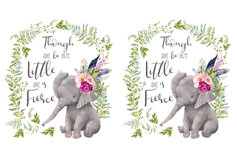 """27""""x36"""" / 2 to 1 Yard Minky / Though She Be But Little Elephant fabric by shopcabin on Spoonflower - custom fabric"""