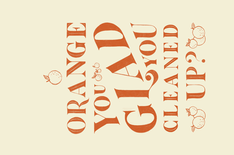 Orange You Glad You Cleaned fabric by arthousewife on Spoonflower - custom fabric