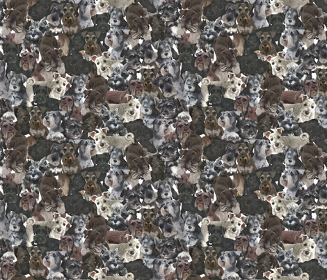 Schnauzer Collage Realistic Small Light fabric by olly's_corner on Spoonflower - custom fabric