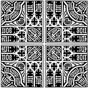 Gothic Mosaic Tile Black and White
