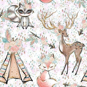 Forest friends confetti on white