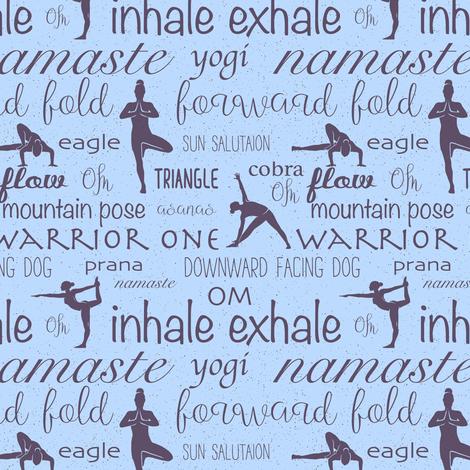 Namaste Yoga blue fabric by lub_by_lamb on Spoonflower - custom fabric