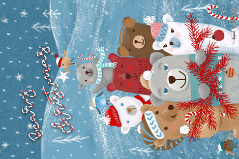beary christmas! pun tea towel fabric by designed_by_debby on Spoonflower - custom fabric