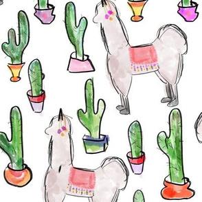 Llamas and Cactus from Atacama