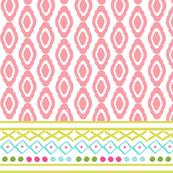 border LARGE Wide 766 - damask fair isle tropics- pink