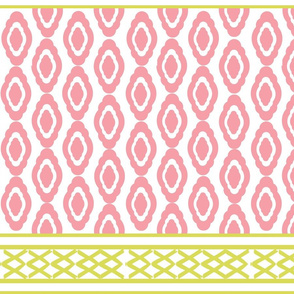 border lattice LARGE Wide 766 - damask  tropics- pink