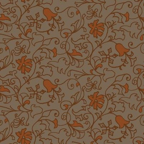 antique floral rust and coco