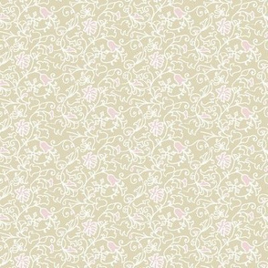 antique floral pink and cream