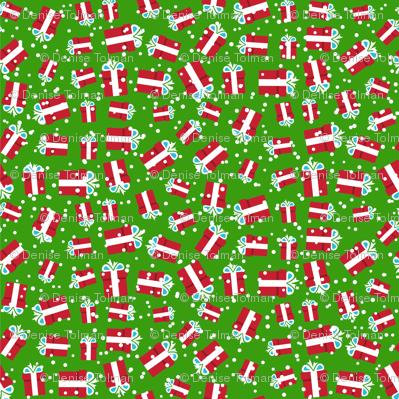 Christmas Present on Green