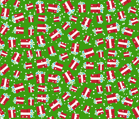 Christmas Present on Green fabric by fabric_is_my_name on Spoonflower - custom fabric
