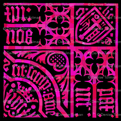 Roman Gothic Stained Glass on Pink