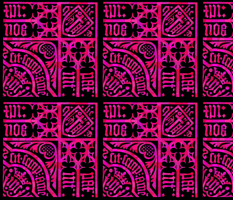 Roman Gothic Stained Glass on Pink fabric by fabric_is_my_name on Spoonflower - custom fabric
