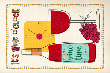 It's Wine O'clock! fabric by vo_aka_virginiao on Spoonflower - custom fabric