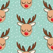 (micro scale) Reindeer - white polka on dark mint - Holiday fabric C18BS