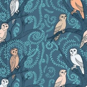 Midnight Blue with Blushing Owls