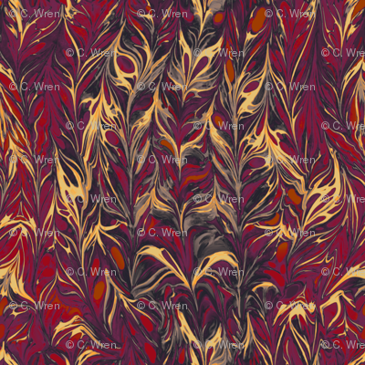 marbling-leaf_red and plum