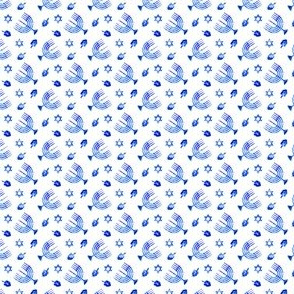 (micro scale) Hanukkah - blue watercolor - menorah, dreidel, Star of David C18BS