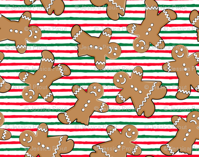 (micro scale) gingerbread man toss on red and green stripes C18BS