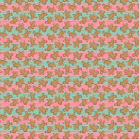 (micro scale) gingerbread man toss on red and green stripes C18BS fabric by littlearrowdesign on Spoonflower - custom fabric