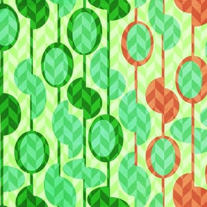 Beads and seeds in green and orange
