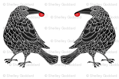 Raven with cherry pillow layout